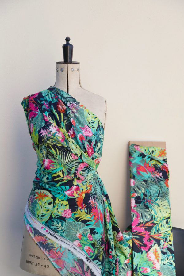 Black Tropical Rayon Challis Fabric