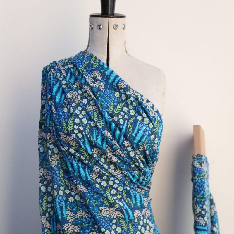 Blue Herbaceous Rayon Challis Fabric