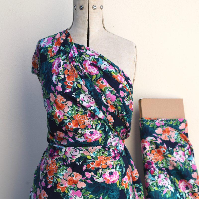 teal abundance rayon challis fabric