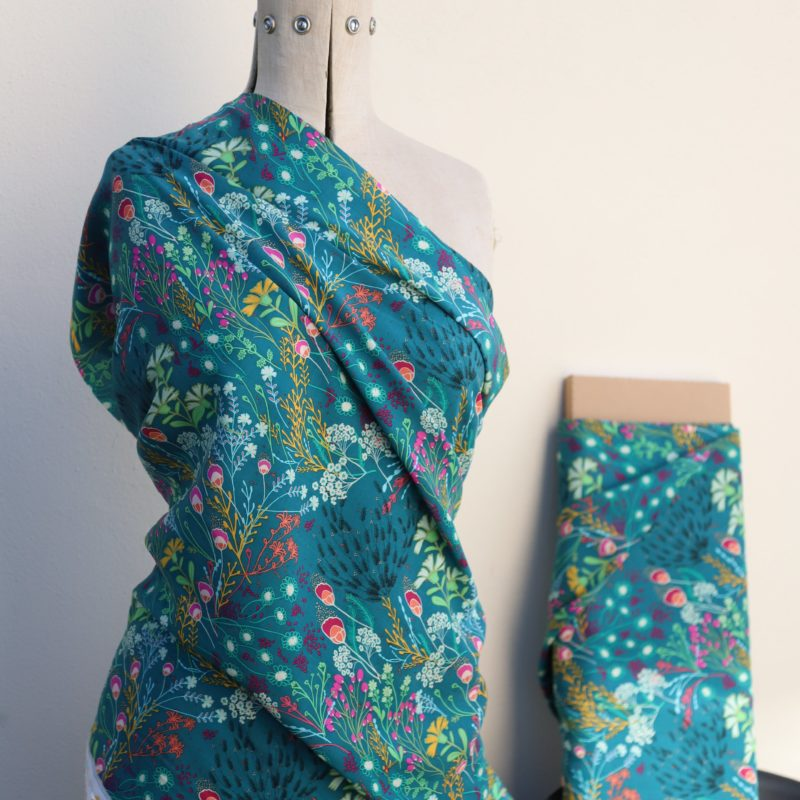Teal Meadow Rayon Challis Fabric